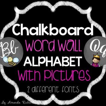 Chalkboard Word Wall Cursive Alphabet
