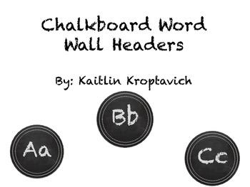 Chalkboard Word Wall Headers