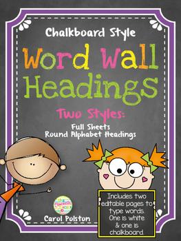 Chalkboard Word Wall Headers 2 Styles