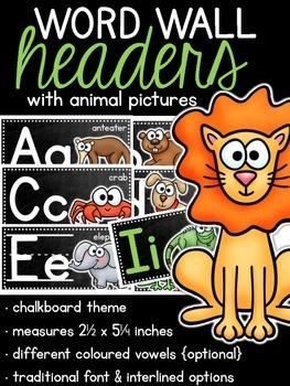Chalkboard Word Wall Headers {Animals}