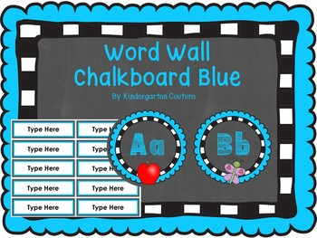 Chalkboard Word Wall Letters Blue With Editable Word Page