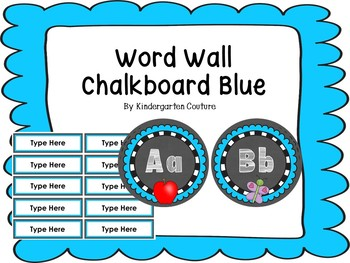 Chalkboard Word Wall Letters Blue With White Letters - Editable