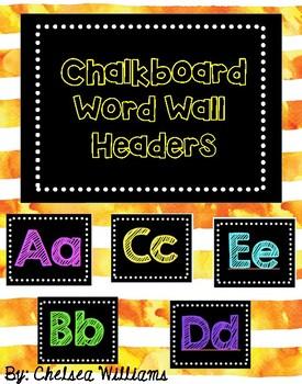 Chalkboard Word Wall Headers Squares