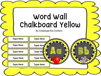 Chalkboard Word Wall Letters Yellow With Editable Word Page