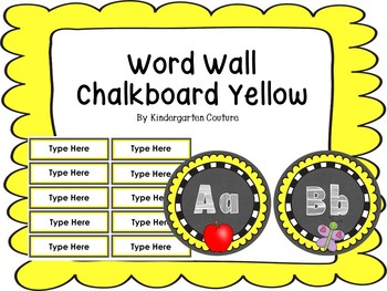 Chalkboard Word Wall Letters Yellow With White Letters -Editable