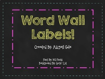 Chalkboard Word Wall Labels