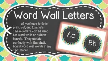 Chalkboard Word Wall Letters
