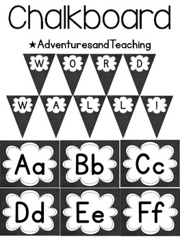 Chalkboard Word Wall Letters and Pennant