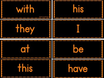 Chalkboard Word Wall Orange & 50 Fry Words Editable
