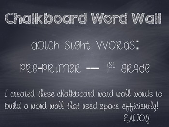 Chalkboard Word Wall Words