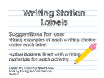 Chalkboard Writing Station Labels