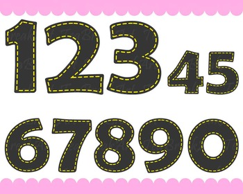 Chalkboard Yellow Numbers - Digital Clip Art Graphics  (143)