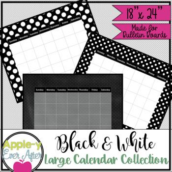 "Black and White Polka Dot Large Bulletin Board Wall Calendar! 18""x24"""