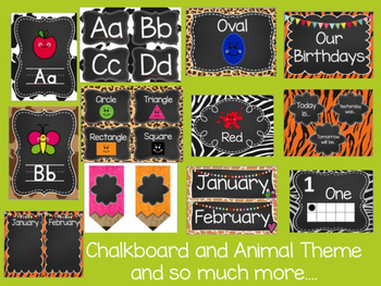 Chalkboard and Animal Print Classroom Theme Pack
