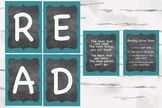 Chalkboard and Aqua READ reading corner bundle, Reading Nook decor, 5x7