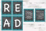 Chalkboard and Aqua READ reading corner bundle, Reading No