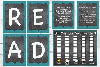 Chalkboard and Aqua READ reading corner bundle and weather chart