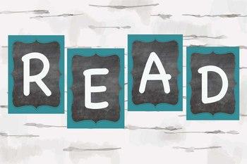 Chalkboard and Aqua READ teacher decor, Reading nook decor, chalkboard theme
