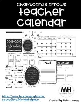 Chalkboard and Arrows Teacher Calendar