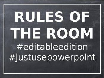 Chalkboard and Black & White Rules of the Room - #Classroom Rules (EDITABLE)