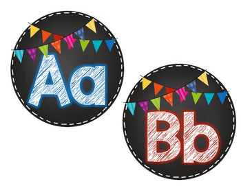 Chalkboard and Bright Bunting Alphabet