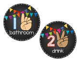 Chalkboard and Bright Bunting Hand Signals
