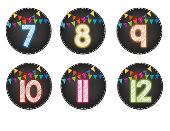 Chalkboard and Bright Bunting Student and Group Numbers
