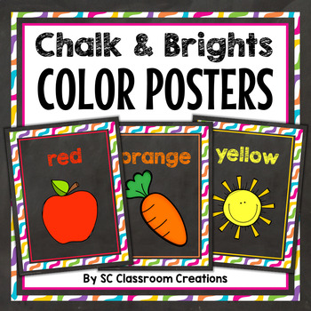 Chalkboard and Bright Dots Color Posters-Classroom Decor
