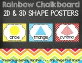 Chalk it Up! Rainbow Chalkboard 2D and 3D Shapes Posters