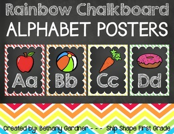 Chalk it Up! Rainbow Chalkboard Alphabet Posters