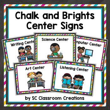 Chalkboard and Brights Center Signs-Classroom Decor
