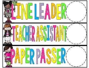 Chalkboard and Brights Classroom Jobs - Editable!