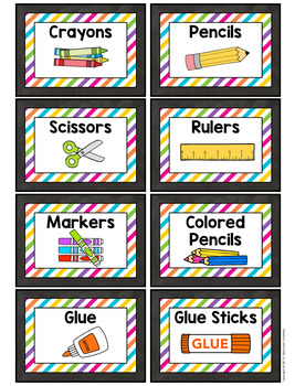 Chalkboard and Brights Supply Labels-Classroom Decor
