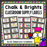 Chalkboard and Brights Supply Labels - Classroom Decor