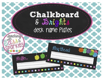 Chalkboard and Brights Desk Name Plates