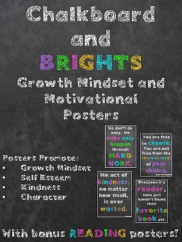 Chalkboard and Brights Growth Mindset Motivational Posters
