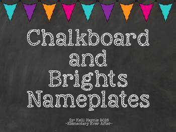Editable Chalkboard and Brights Nameplates