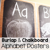Chalkboard and Burlap Farmhouse Alphabet Posters