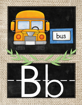 Chalkboard and Burlap Alphabet Posters