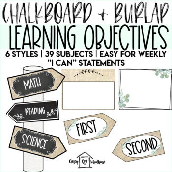 Chalkboard and Burlap Classroom Decor Signs