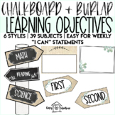Chalkboard & Burlap Learning Objective Signs | I Can Statements | Schedule Cards