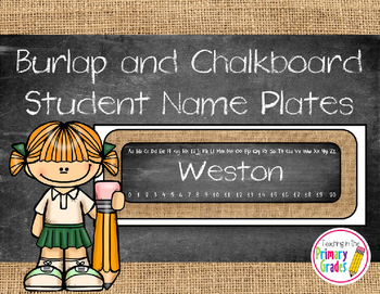Chalkboard and Burlap Editable Student Name Tags