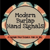 Chalkboard and Burlap Hand Signals {EDITABLE}
