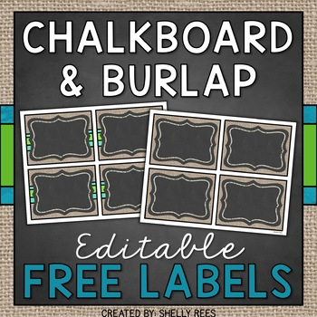 Editable Labels - Chalkboard and Burlap Classroom Decor FREEBIE