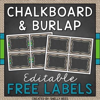Chalkboard and Burlap Labels - Editable FREEBIE