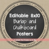 Chalkboard and Burlap Large Poster Labels {EDITABLE}