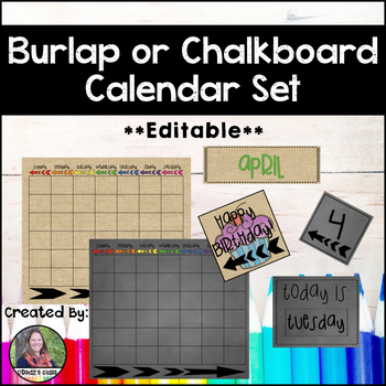 Chalkboard and Burlap with Arrows Calendar Set
