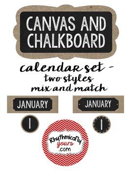 Chalkboard and Canvas Calendar Set