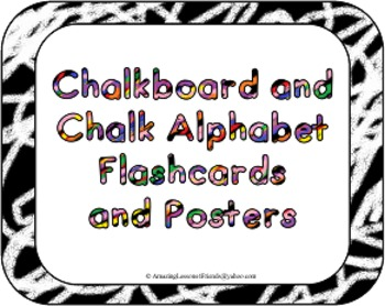 Chalkboard and Chalk Alphabet Flash Cards and Posters