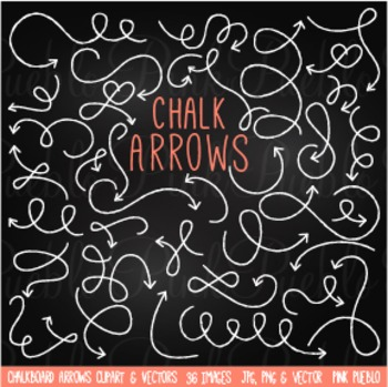 Chalkboard and Chalk Arrows Clipart Clip Art - Commercial and Personal Use